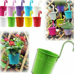 1/10 Flower Pot Hanging Balcony Garden Fence Plant Metal Iro