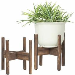 MyGift 10-Inch Brown Wood Plant Stands, Set of 2