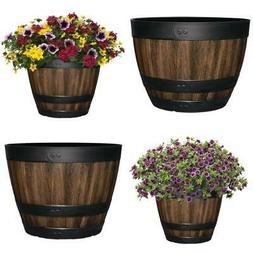 11.3 - 20 In. Resin Barrel Planter Indoor Outdoor Large Flow
