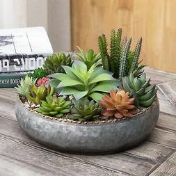 MyGift 11 Inch Galvanized Silver Metal Round Planter Bowl wi