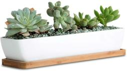 11inch long rectangle white ceramic succulent planter