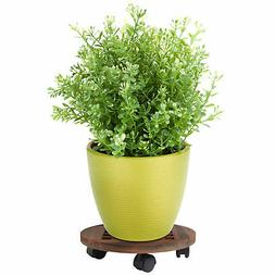 12 Inch Rolling Wooden Planter Caddy with 360? Rotating Cast