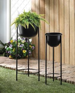 2 size lot black wire plant stand with legs elevated planter