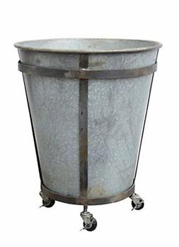 "Creative Co-Op 26"" X 21"" Rustic Tin Container Bucket on Cast"