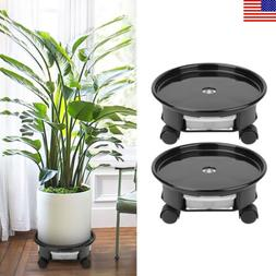 2PCS Plant Caddy on Wheels Rolling Plants Stand with Drainag