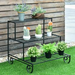3 Shelf Metal Plant Stand Decorative Display Planter for Ind