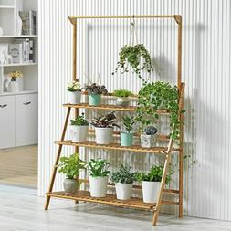 3 Tier Folding Bamboo Plant Stand Pot Shelf Stand Rack Indoo