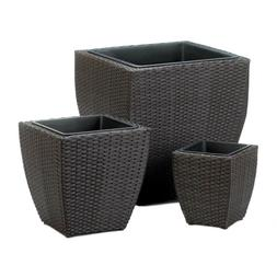 3 Wicker Square Planters-Brown & Black Tuscany-Indoor Or Out