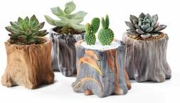 Tree Stump Flower Pot Ceramic Succulent Planter Pots for Gar