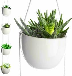 4 Tier Plant Hanging Holder White Ceramic Planters for Wall