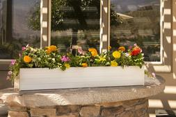 "48"" Rectangular Wood Composite Window Box Planter with Drain"