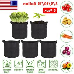 5 Pack Black Grow Bags Aeration Fabric Planter Root Growing