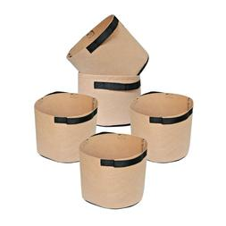 5-Pack Brown Tan Grow Bags Aeration Fabric Planter Root Grow