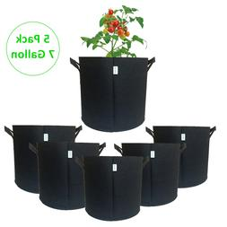 5PCS 7 Gallon Grow Bags DIY Planter Vegetables Garden Fabric