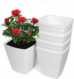 6 inch Plastic Planters Indoor with Drainage Hole and Stoppe