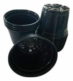 6 inch Round Black Plastic Pots - SET OF 15 -   flower pot N