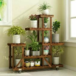 6 Tier Wood Plant Stand Vertical Carbonized Multiple Holder