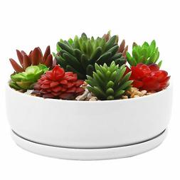 8 inch Modern White Ceramic Round Succulent Planter Pot with