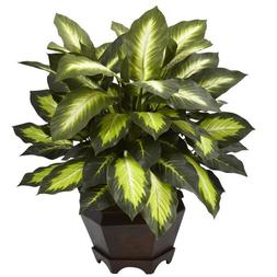 Nearly Natural 6720 Triple Golden Dieffenbachia Plant with W