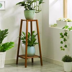 Bamboo 2 Tier Tall Plant Stand Pot Holder Small Space Table