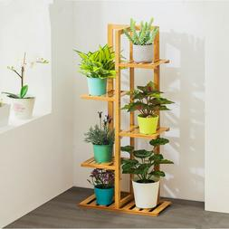 Bamboo Plant Stand Indoor&Outdoor Multiple Flower Pot Holder