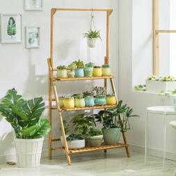 Bamboo Wood Plant Stand 3 Tier Vertical Multiple Pot Flower