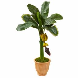 Banana Artificial Tree In Terracotta Planter Nearly Natural