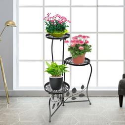 Black Wrought Iron Metal Plant Stand Holds 3 Flower Pot Rack