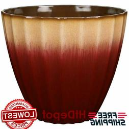 Blue Red Teal Ombre Resin Flower Pot Round Planter Indoor Ou