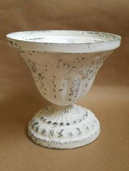 Chippy Urn Planter CREAM Metal French Country Shabby Garden