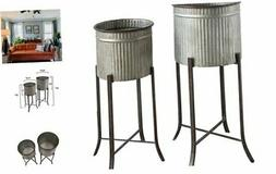 Creative Co-op Corrugated Metal Planters on Stands , Silver,