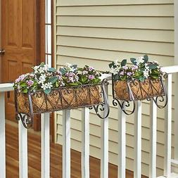 Decorative Iron Scrollwork Porch Rail Planter for Flowers, H