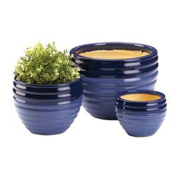 Duo Blue Planters Trio Stylish Ceramic Decorative Three Size