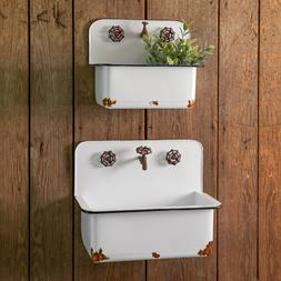 Farmhouse new Hanging metal Sink Wall Planters in distressed