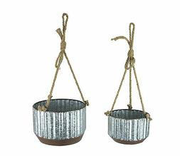Farmhouse Style Corrugated Galvanized Metal and Rope Hanging