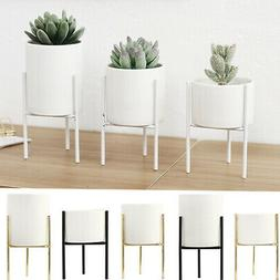 Geometric Plant Stand Metal and Ceramic Indoor Flower Pot Ra