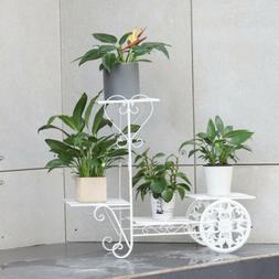 Flower Pot Rack Metal Plant Stand with 4 Tier Shelf Solid 26