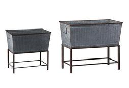 Rectangular Galvanized Metal Tub Planters On Stand Set of 2