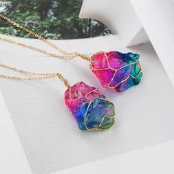 Gold Plated Jewelry Irregular Rainbow Stone Natural Crystal