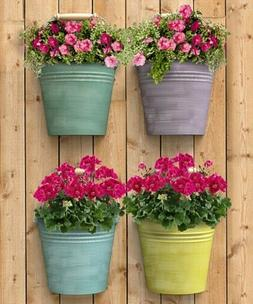 HALF ROUND BUCKET WALL PLANTERS, 4 PACK, ASSORTED COLORS by