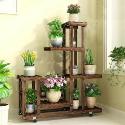 Heavy Duty Rolling 6Tier Wood Plant Stand Multiple Planter H