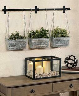 INDOOR OUTDOOR TRIPLE HANGING PLANTERS WALL MOUNTED ON A 32""