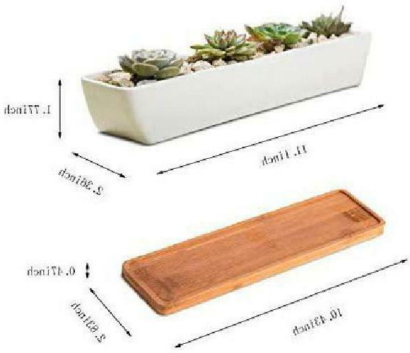 11Inch Long Rectangle Ceramic Succulent Planter Flower