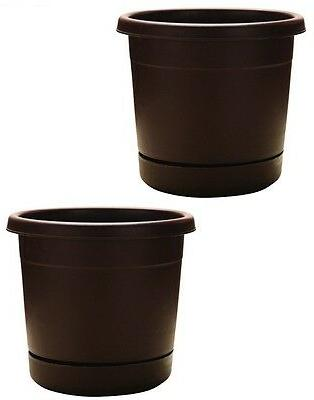 """2 Southern Patio 16"""" Cocoa Rolled Rim Plastic Planters Saucers"""