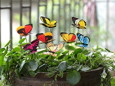 Ginsco 25pcs Butterfly Stakes Outdoor Yard Planter Flower Po