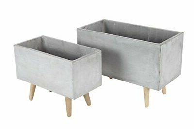 46466 fiber clay and wood planters set