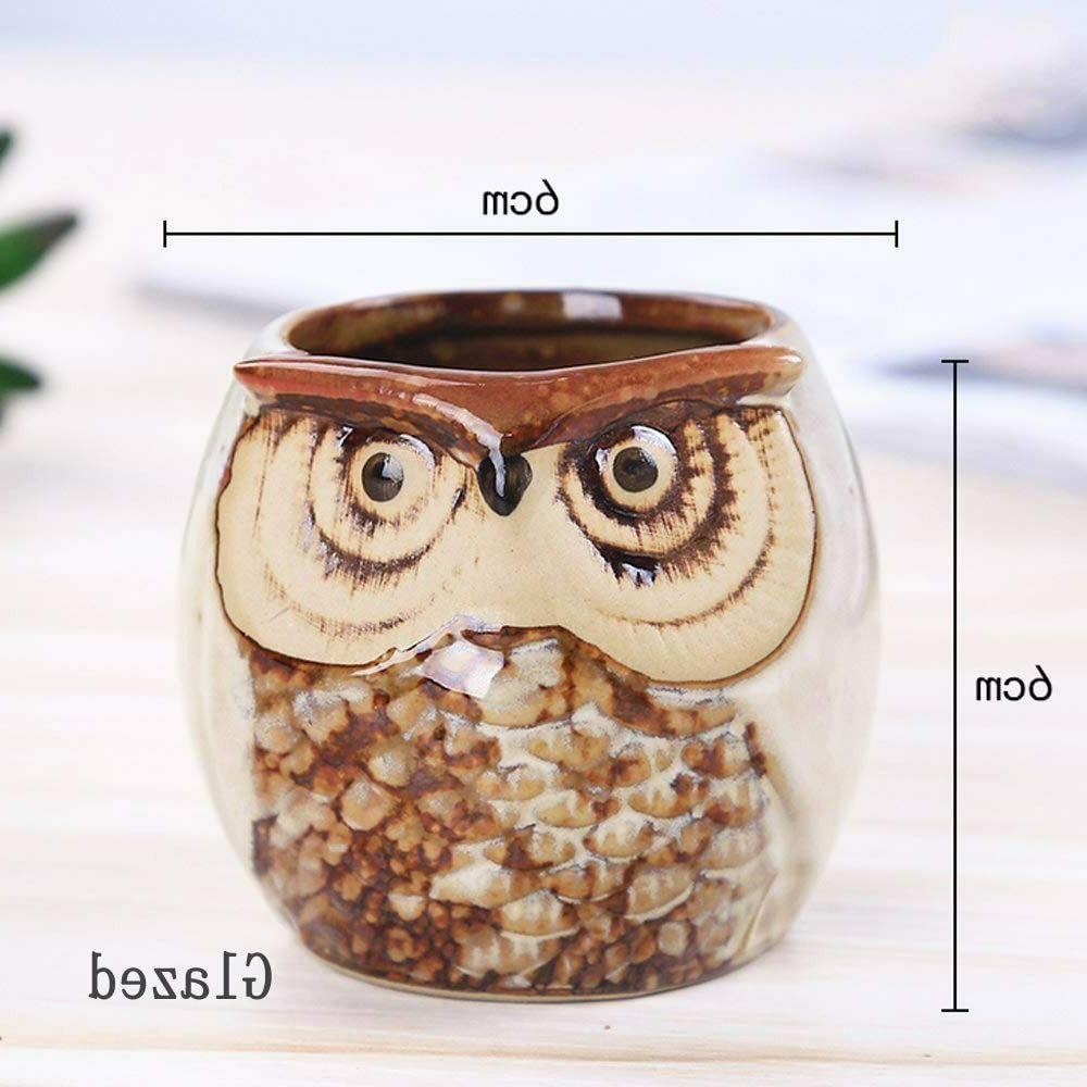 6 Inches Ceramic Owl Planters with Drainage Holes