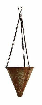 Creative Co-op Metal Hanging Cone Planter with Distressed Zi
