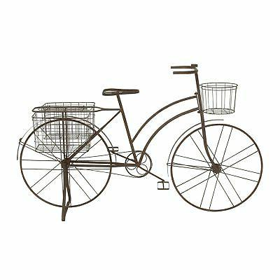 Farmhouse 39 Inch Brown Standing Bicycle Planter