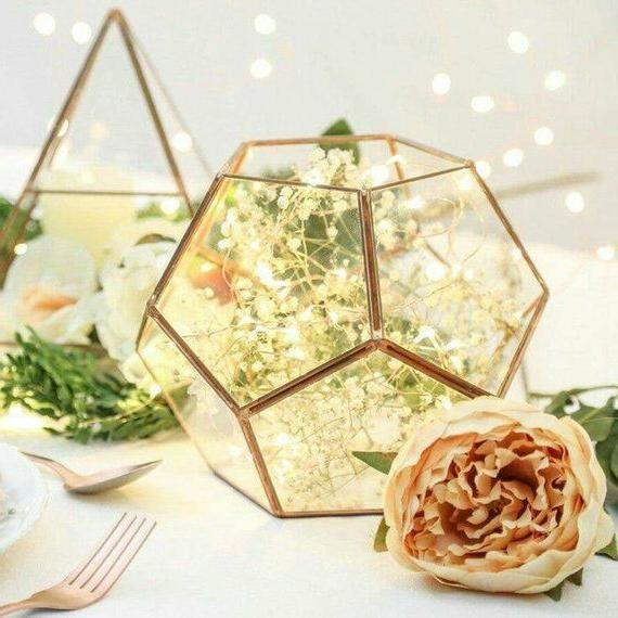 glass geometric terrarium wedding table decor succulent